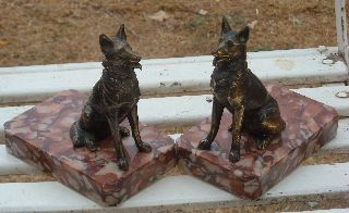 Vintage Art Deco German Shepard Marble And Spelter Bookends From France photo