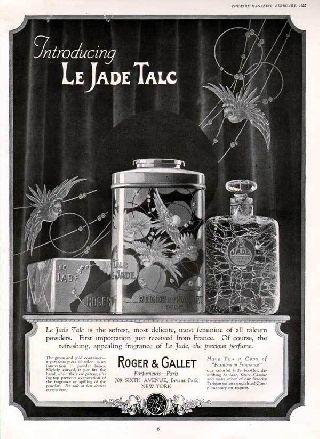 1925 French Perfume Art Deco Tin Bottle Parrot Talc Ad photo