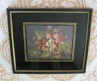 Art Deco Reverse Painted Black Gold Framed Art Flower Print Signed 7