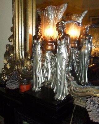 Art Deco Nouveau Chrome Figures Flapper Statue Antique Nora Lady Lamp Light photo