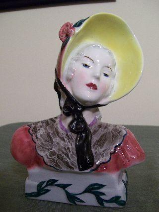 Elegant Art Deco Goldscheider Lady Head Bust Figurine C 1940s photo