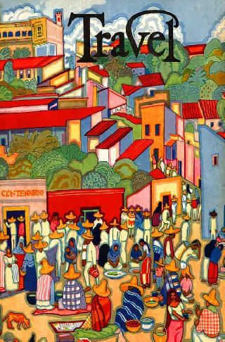 1929 Mexican Art Deco Travel Poster Pottery Market Art Deco Style Village photo