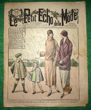 C1924 Art Deco Jazz Era French Fashion Newspaper N3 photo