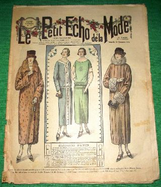 C1924 Art Deco Jazz Era French Fashion Newspaper N1 photo