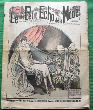 C1928 Art Deco Jazz Era French Fashion Newspaper N23 photo