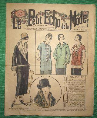 C1924 Art Deco Jazz Era French Fashion Newspaper N5 photo