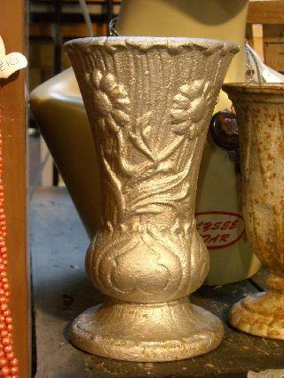 Fabulous French Art Deco Cast Iron 1920 ' S Metal Graveside Flower Vase photo