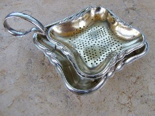 Art Deco Wmf Gilt Silverplate Strainer With Stand photo