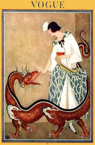 1923 Fashion Dragon Art Deco Poster Asian Fantasy Beast Wow photo