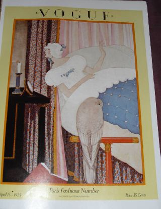 Vogue Art Deco Paris Poster Old Cover Bird 1925 Yellow Fashion Trend Picture photo