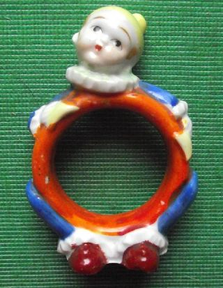 C1930 Art Deco Hand Painted Figurative Clown Napkin Ring photo