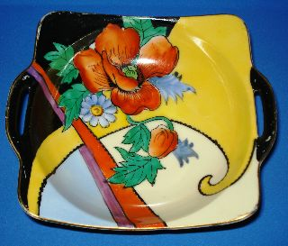 Vintage Art Deco Noritake Porcelain Bowl Hand Painted Handles Japan 1918 Sale photo
