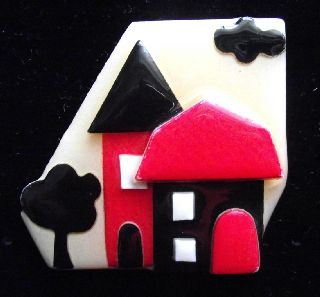 Modernist Art Deco Vintage Plastic Studio Brooch Pin By Lucinda Yates H photo