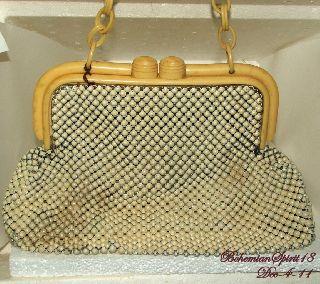 Vintage Art Deco Signed Whiting & Davis Alumesh Plastic Frame/handle Handbag photo