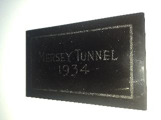 Art Deco Period Mersey Tunnel 1934 Black Glass Plaque Worker Issue Rare 1930 ' S photo