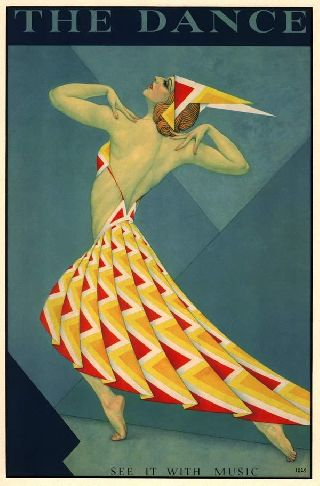 1925 Music Fashion Dancer Theatre Stage Art Deco Poster New Printing photo