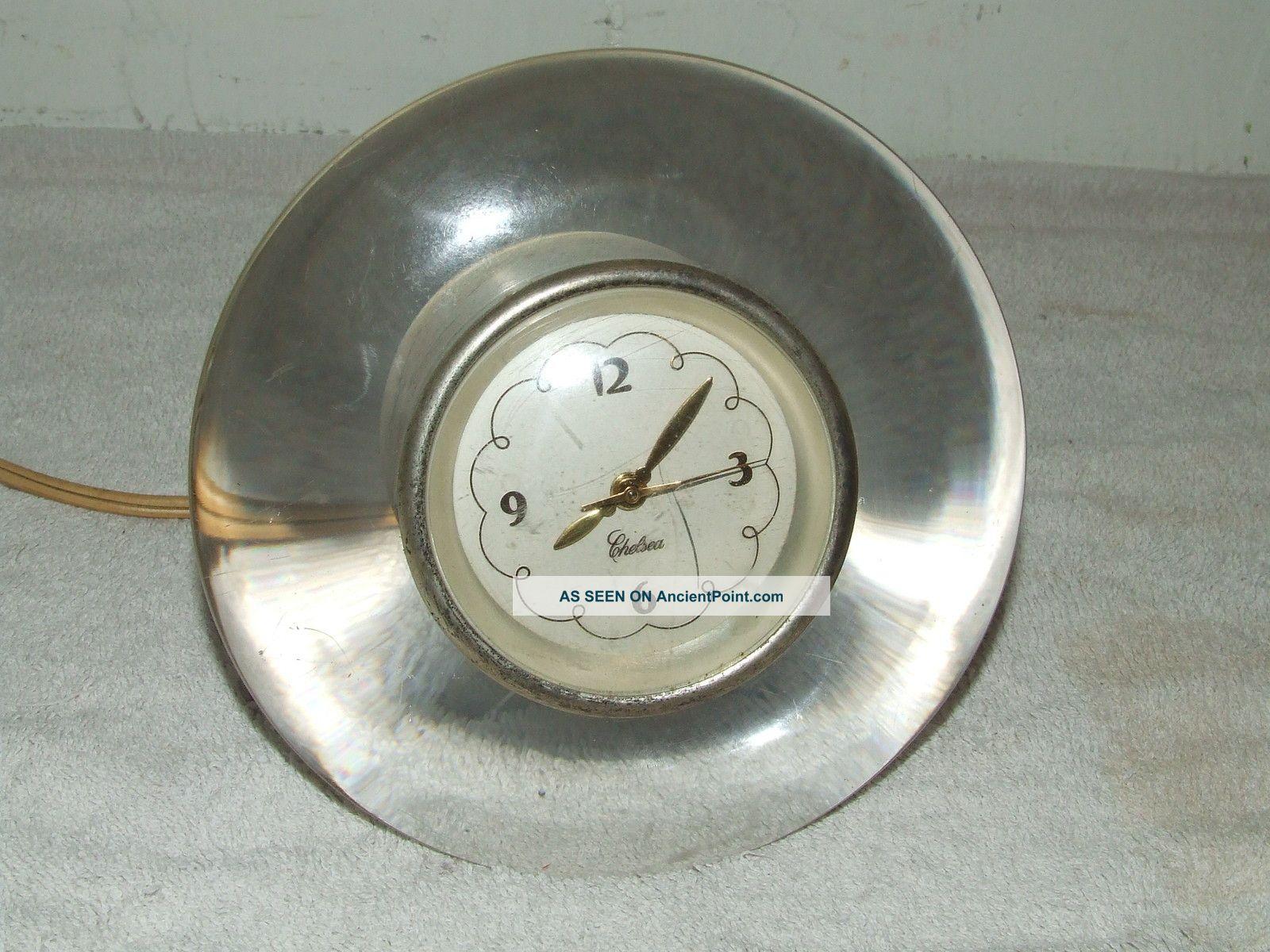 Vintage 1940 S Chelsea Clock Company Art Deco Lucite Glass Ve Desk Rare