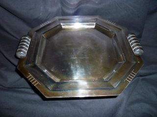 French Art Deco Silver Cocktail Tray C1930 ' S photo
