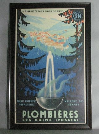French Art Deco Travel Poster For Plombieres C.  1938 photo