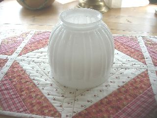 Art Deco Raised Pattern Design White Milk Glass Table Or Ceiling Lamp Shade photo