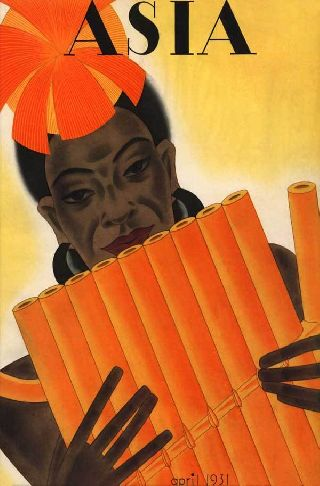 1931 Asia African Reed Flute Music Song Art Deco Poster New Printing photo