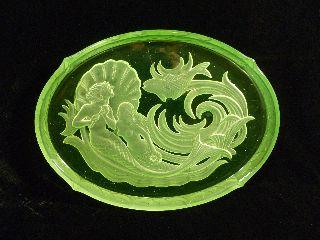 Walther & Sohne Uranium Vaseline Glass Art Deco Nymphen Pattern Vanity Tray photo