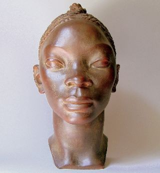 Early Art Deco (1912 - 14) Head Negress Clay Sig Orlandini Att Master Henri Bouchard photo