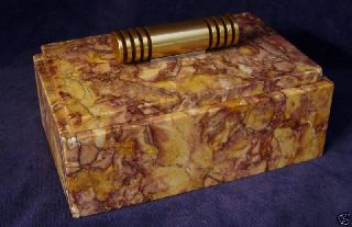 Art Deco Marble And Bronze Cigarette Box Cr1920 photo