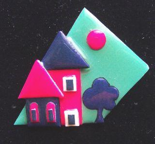 Modernist Art Deco Vintage Plastic Studio Brooch Pin By Lucinda Yates F photo