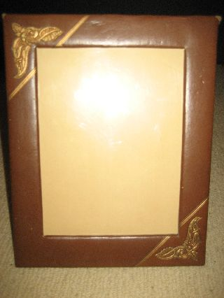Vintage Art Deco Pressed Leather Picture Frame 8x6 Picture Deluxe Craft Chicago photo