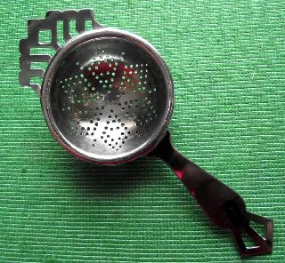 Late Art Deco English Lugged Chrome Tea Strainer H photo
