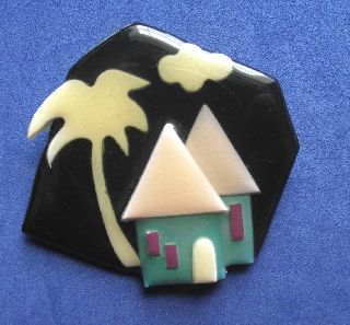 Modernist Art Deco Vintage Plastic Studio Brooch Pin By Lucinda Yates C photo