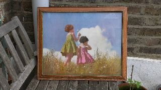 Stunning Art Deco Print The Weather Clock Bright Colours Girls Limed Oak Frame photo