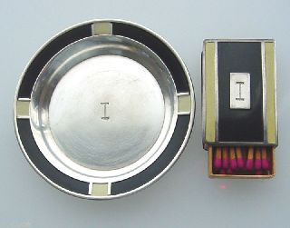 Fine Art Deco Sterling Enamel Signed Webster 2 Pc Set Ashtray Match Box Matches photo