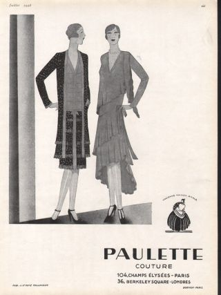 1928 Paulette Couture Woman Leg Style Fashion Deco Ad photo