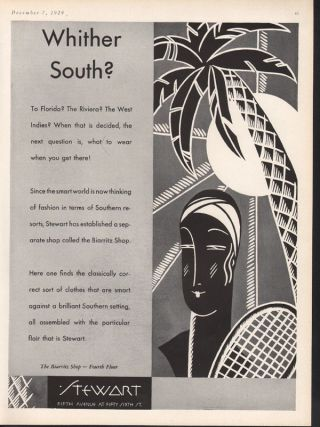 1929 Stewart Deco Fashion Beach Palm Sun Travel Beauty photo