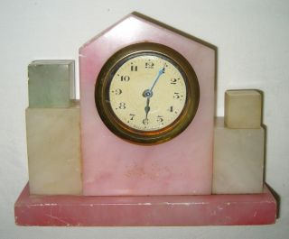 Antique Kaiser Germany Art Deco Pink Multi - Toned Desk Boudoir Clock For Rehab photo