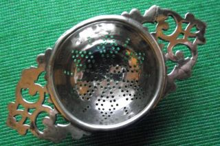 C1920 Art Deco Epns Silver Plated Lugged Tea Strainer C photo