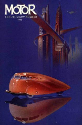 1935 Scarab Dynomaxica Futuristic Autocar Sci Fi Poster photo