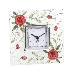 Art Deco Glass Rennie Mackintosh Mirror Mantle Table Clock Rose Flower Clock photo