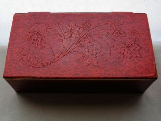 Gorgeous Red Art Deco Box Signed Grammes Inc Allentown Pa Raised Flowers Leaves photo
