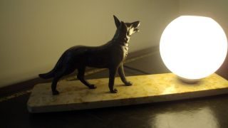 Art Deco Table Lamp With A German Shepherd Dog & Opal Globe photo