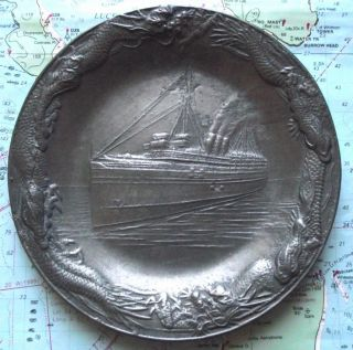 Vintage Art Deco Ocean Liner & Dragons Pewter Tray photo