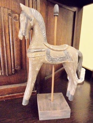 Art Deco Antique Hobby Horse Figure Figurine Statue Gypsy Folk Art Retro Figure photo