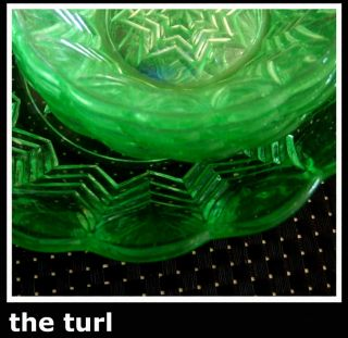 Uranium Green Glass Art Deco Dessert Set - Server & Four photo