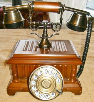 Bt Vintage Retro Art Deco Antique Brass Wood Real Rotary Dial Phone Telephone photo