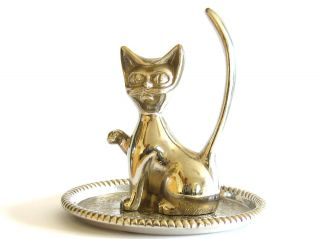 Art Deco Seba Copy Of Walter Bosse Inspired Silver Plated Cat On Pin Tray photo