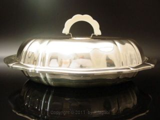 Art Deco Luxury Silverplated Serving Bowl Excellent Food Warmer Bakelite German photo