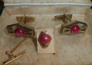 40 ' S Tie Tack Cuff Links Set Box La Rue Fine Jewelry Pink Art Deco photo