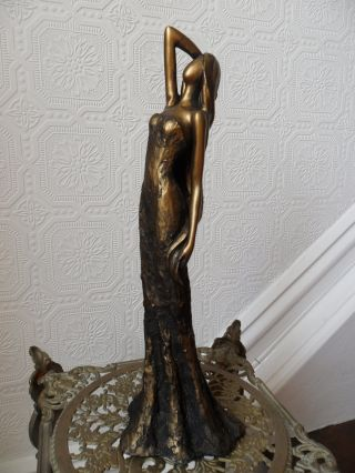 Lovely Elegant Lady Antique Aged Gold Statue Figuer Sculpture With Arm On Head photo